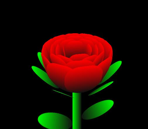 从y轴方向上俯视玫瑰花,就是多个花瓣围绕圆心组成的同心圆.